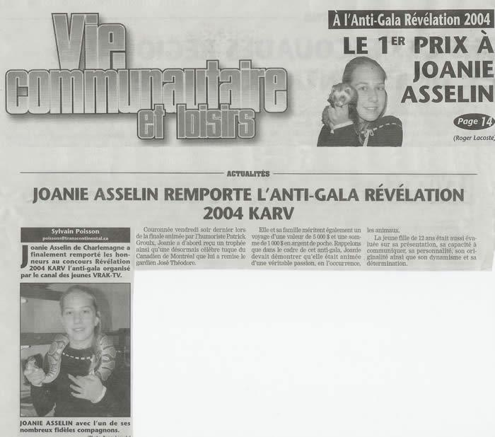 Joanie Asselin remporte l'Anti-Gala Révélation 2004 KARV